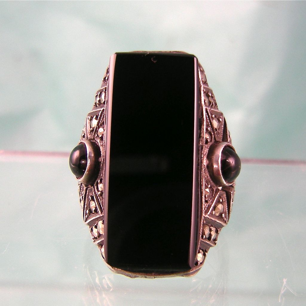 Art Deco Sterling Germany Onyx Ring Big And Bold From Steig On Ruby Lane