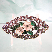 Rare 935 Silver Deco Brooch with Glass Flowers and Marcasites
