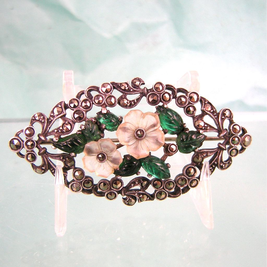 Art Deco European Brooch with Glass Flowers and Marcasites, 935 Silver