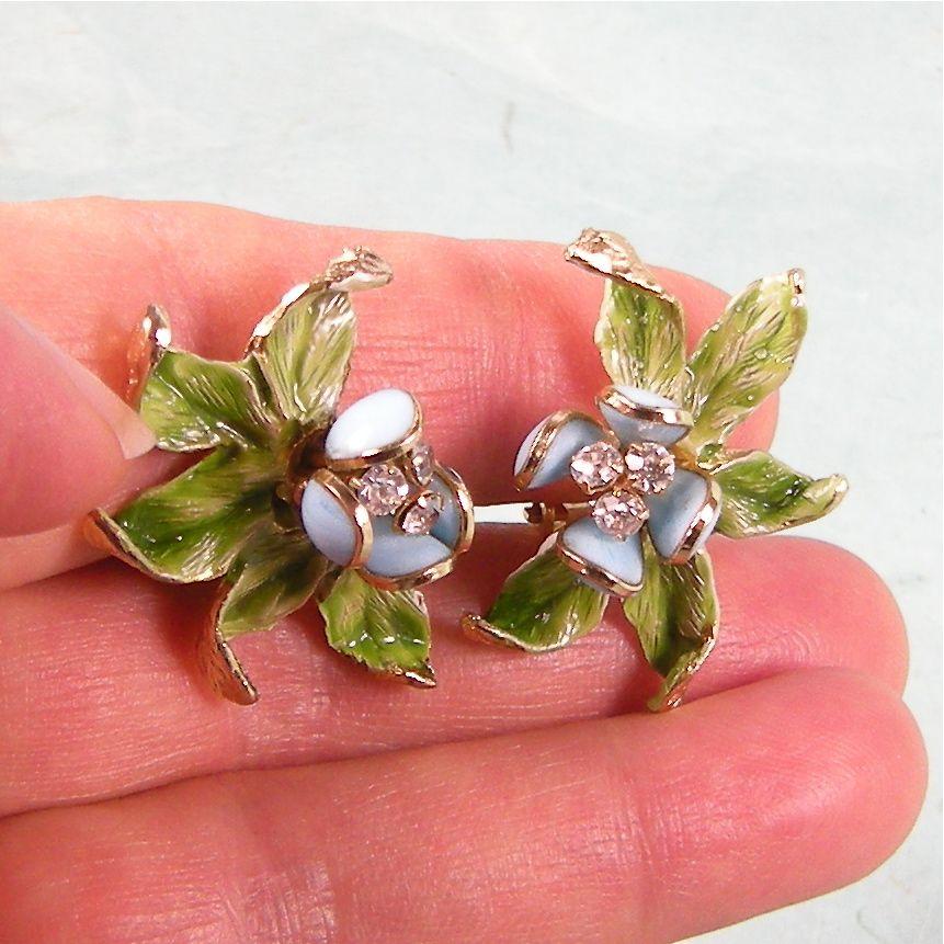 Dimensional Carnegie Blue Enameled Flower Earrings with Sparkling Rhinestones