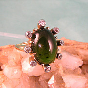 Green Tourmaline and Diamond Ring in 14K Yellow Gold, Very Large Stone, 1930s