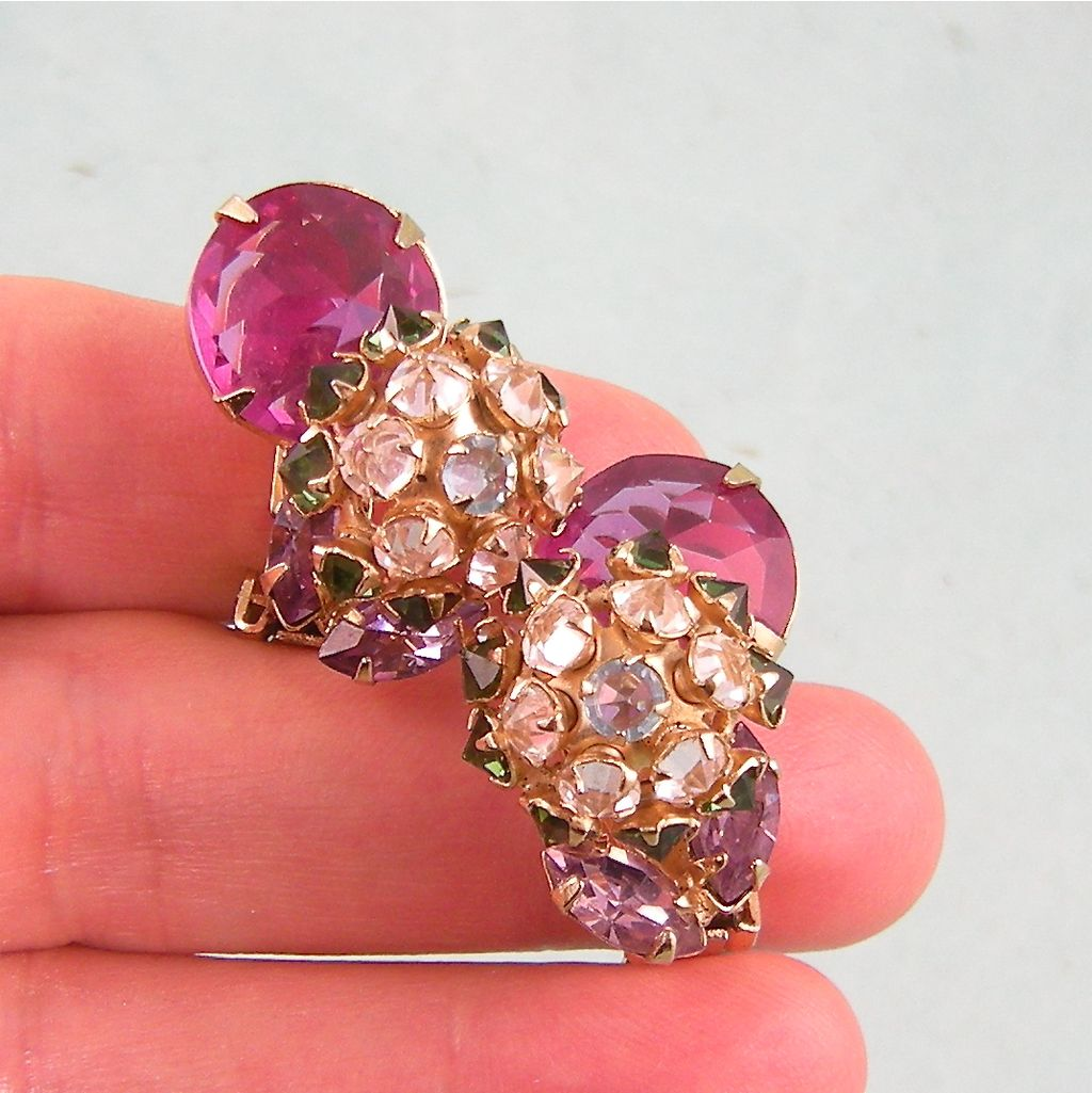 Prettiest Schreiner Earrings, Complex Design, Colors!