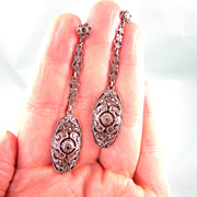 Brilliant Long Marcasite Earrings in Sterling, Art Deco