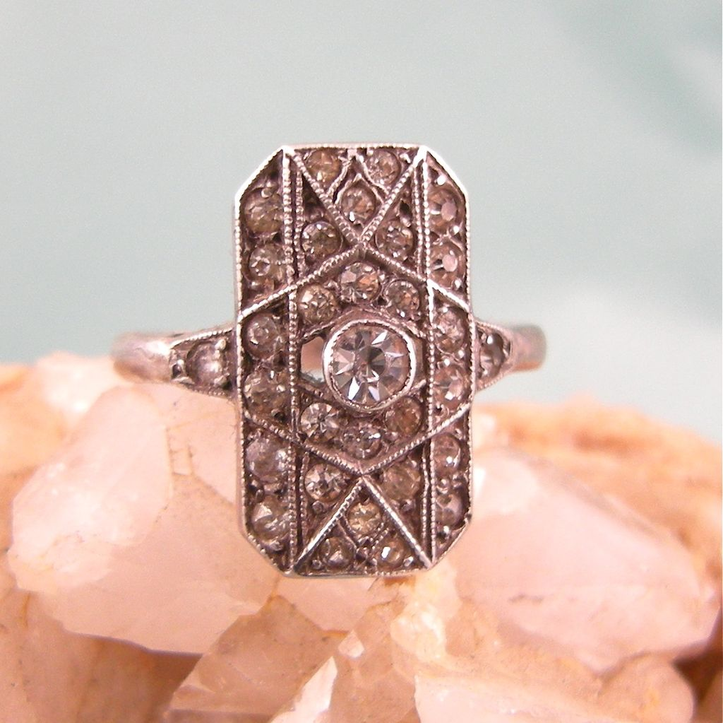 Sparkling Art Deco Paste Ring in Sterling