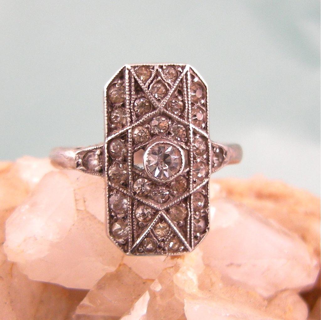 Sparkling Art Deco Paste Ring in Sterling
