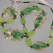 Fabulous Glass Bead Necklace, Sterling, France