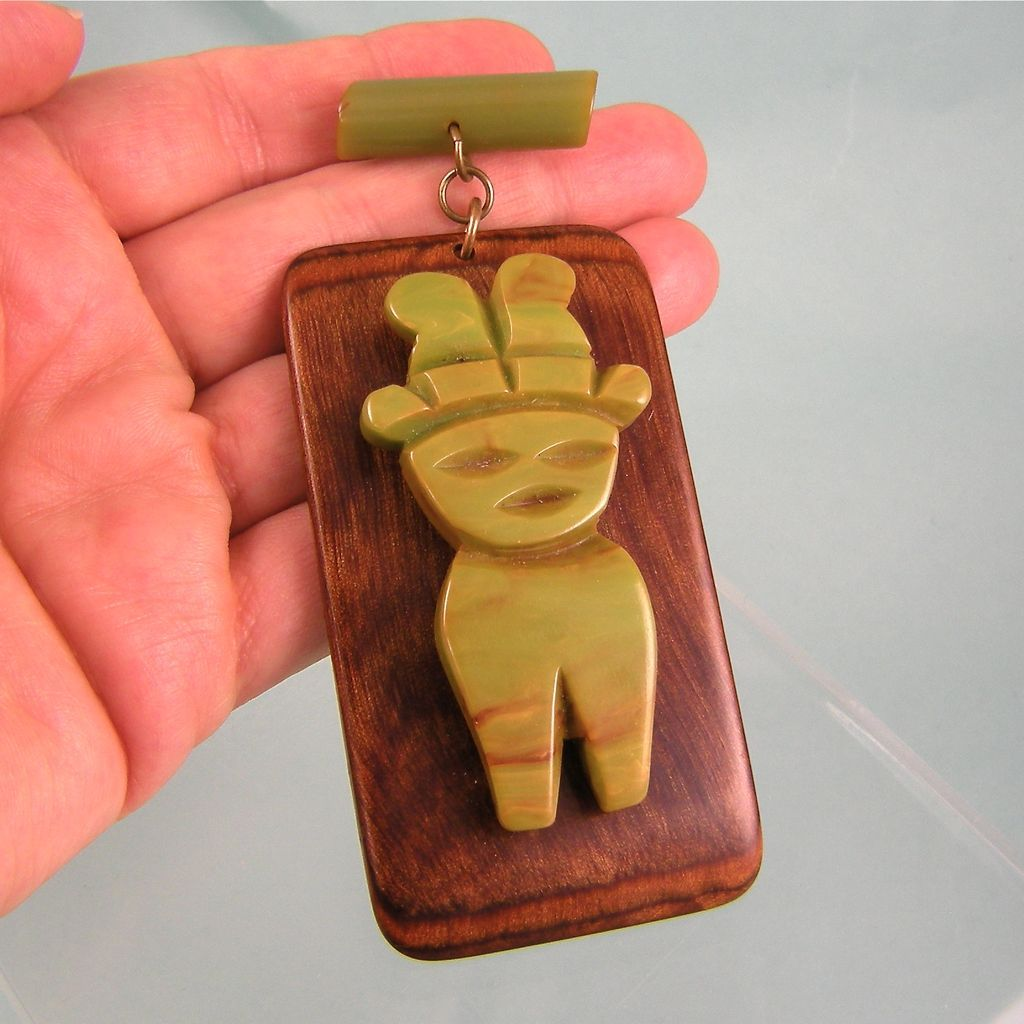 Very Large Bakelite-on-Wood Dangling Pin, Tribal Figure
