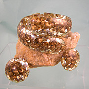 Rich Gold Confetti Lucite Clamper with Shells, Bracelet and Earrings Set