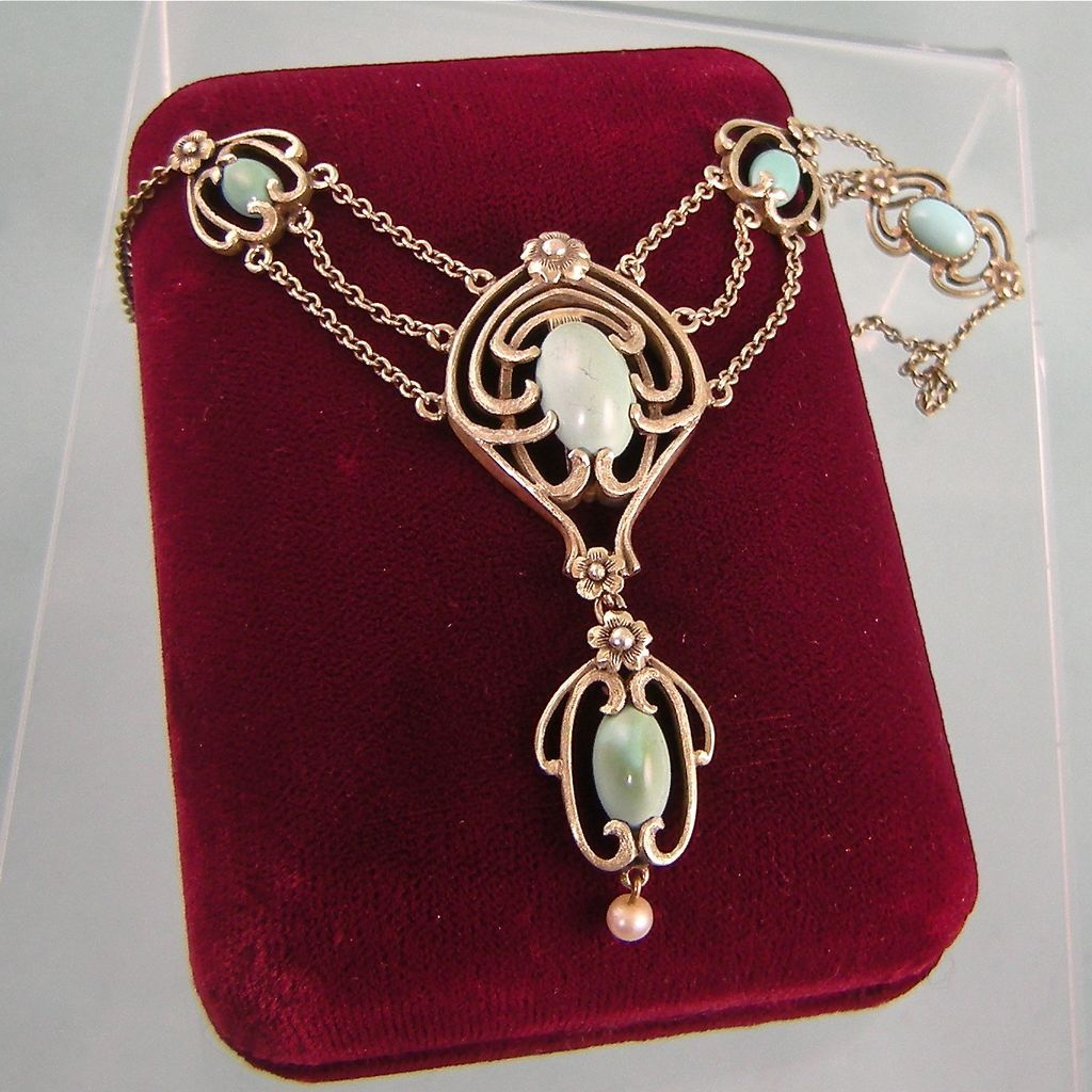 Art Nouveau Festoon Necklace, Signed G.S., Early George Steere