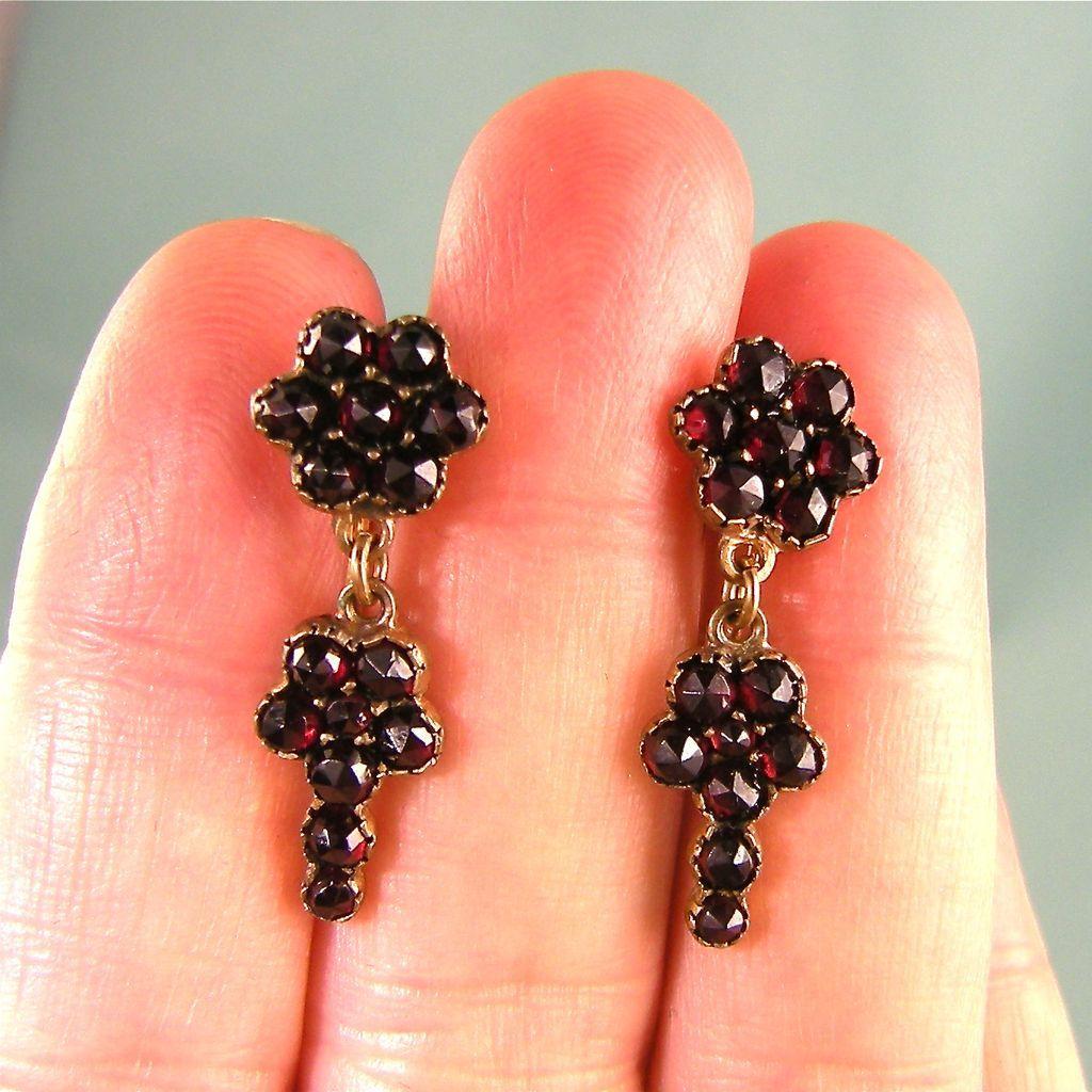 Vintage Victorian Garnet Drop Earrings, 14K Gold and Vermeil