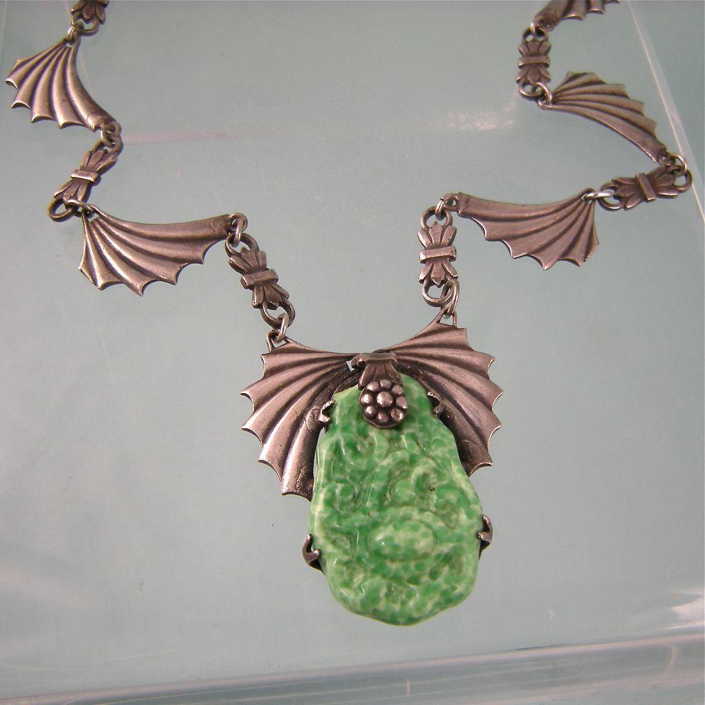 Art Deco Asian Motif Necklace Signed Fishel, Nessler