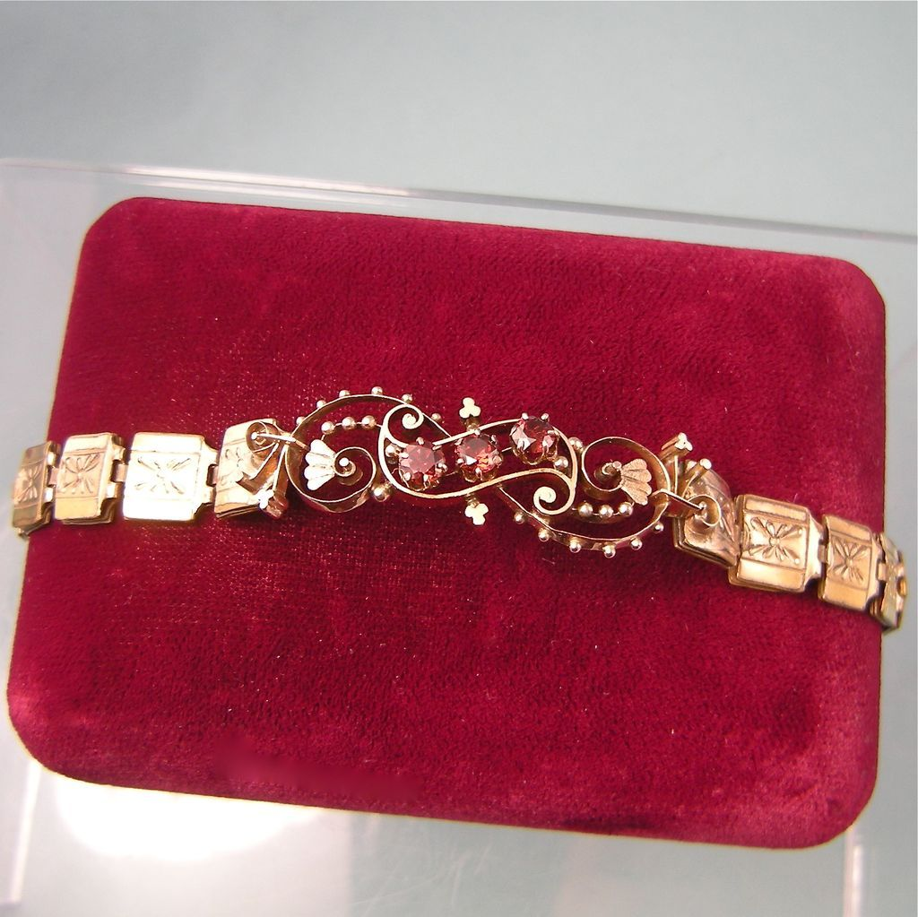 Exquisite Victorian 14K Gold and Gold filled Garnet Bracelet