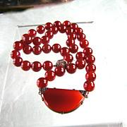 Luxuriant Carnelian Bead Necklace with Art Deco Centerpiece