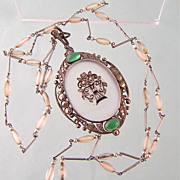 Theodor Fahrner Rock Crystal, Chrysoprase, Marcasite Pendant, Sterling Germany, Signed TF, with Long German Art Deco Chain