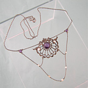 Edwardian Sterling Festoon Necklace with Amethysts and Pearls