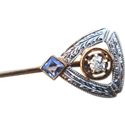 Elegant 14K Diamond Early Deco Engraved Stick Pin