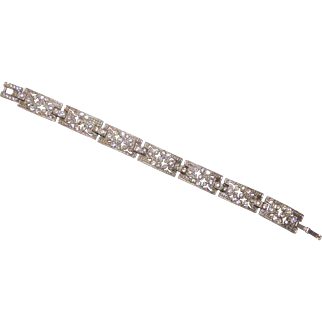 "Art Deco Rhinestone Plaque Bracelet circa 1930's 6.5"""