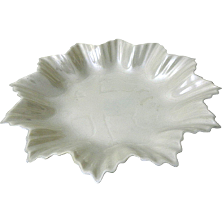 "Irish Belleek Fine Parian China - 6"" Leaf Plate - Green 5th Mark 1955-1965"