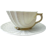 Irish Belleek Fine Parian China - Neptune Yellow Cup and Saucer - Sixth Mark, 1965 - March 31, 1980
