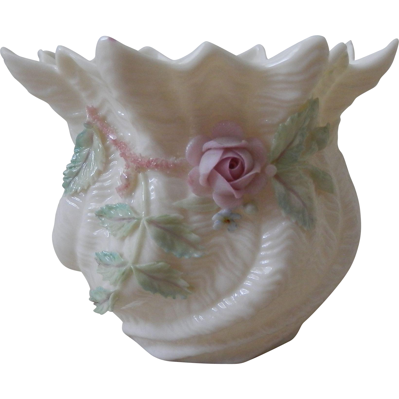 Irish Belleek Fine Parian China - Shell Pattern Flower Pot or Votive Holder with Roses and Shamrocks - Fifth Mark, 1955 - 1965