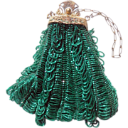 Exquisite French Green Beaded Evening Bag with Metal Frame and Chain Handle Circa 1920-30s