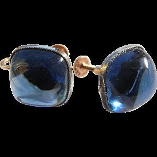 10k Glowing Blue Glass Cabochon Screw Back Earrings