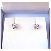 Sparkling 0.52ct Quality Diamond Stud Earrings 14K White Gold