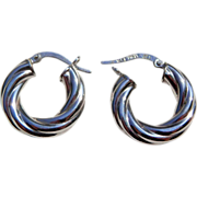 Italian 14K White Gold Twist Hoop Earrings 3.1 grams
