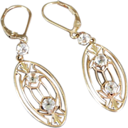 Beautiful 14K Deco / Nouveau Paste Drop Earrings