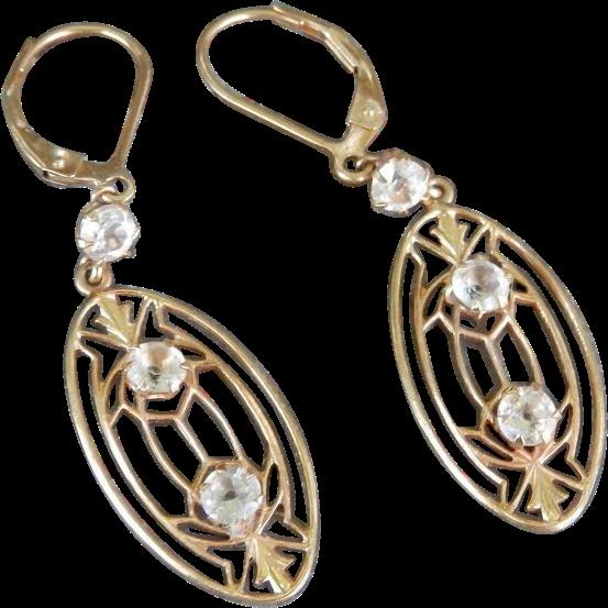 Beautiful 14K Deco / Nouveau Paste Drop Earrings