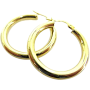 "Italian 14K Yellow Gold Classic 1"" Medium Sized Hoops"