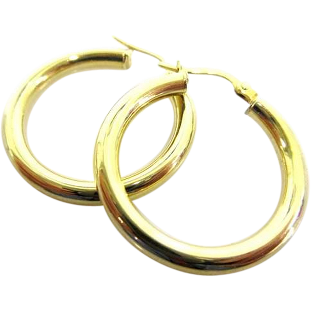 "Italian 14K Yellow Gold Classic 1"" Medium Sized Hoops"