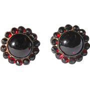 Cabochon and Rose Cut Garnet Screw Back Earrings Sterling Silver