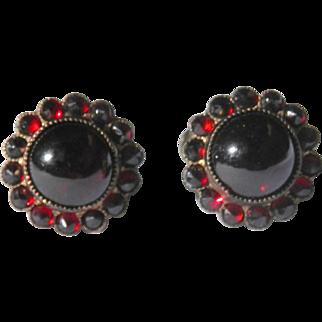Cabochon and Rose Cut Garnet Screw Back Earrings Sterling Silver