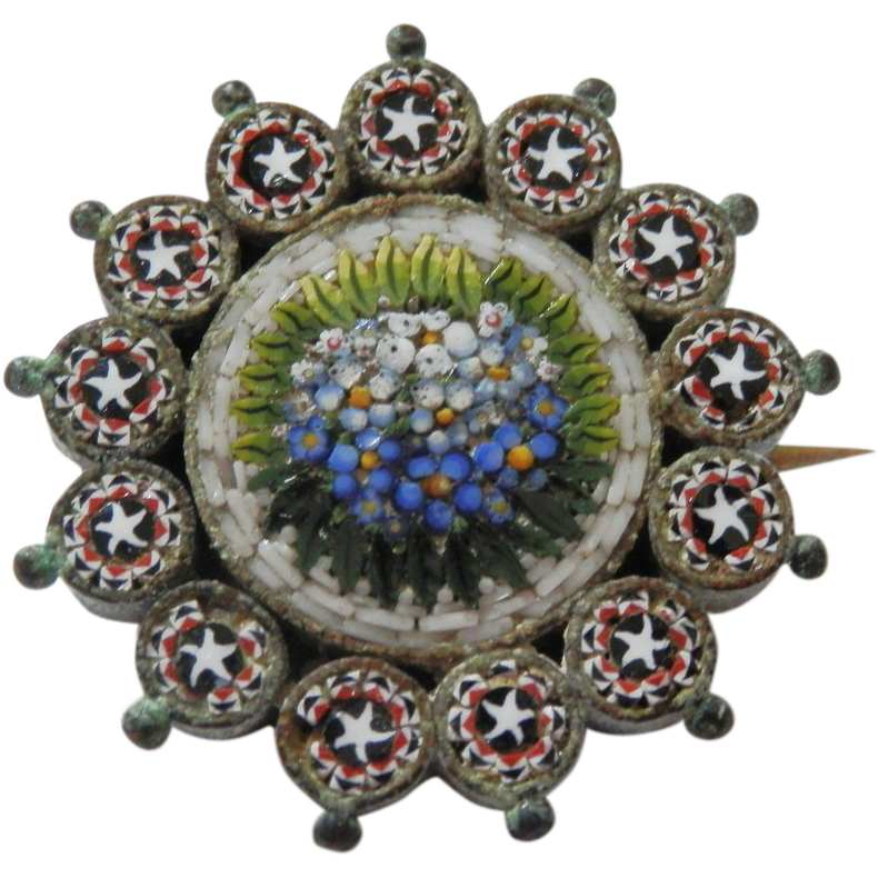 19th C. Micro Mosaic Pin - Flowers / Stars