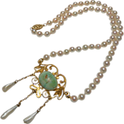 Exquisite Antique 14K Gold Art Nouveau Turquoise & Pearl Necklace
