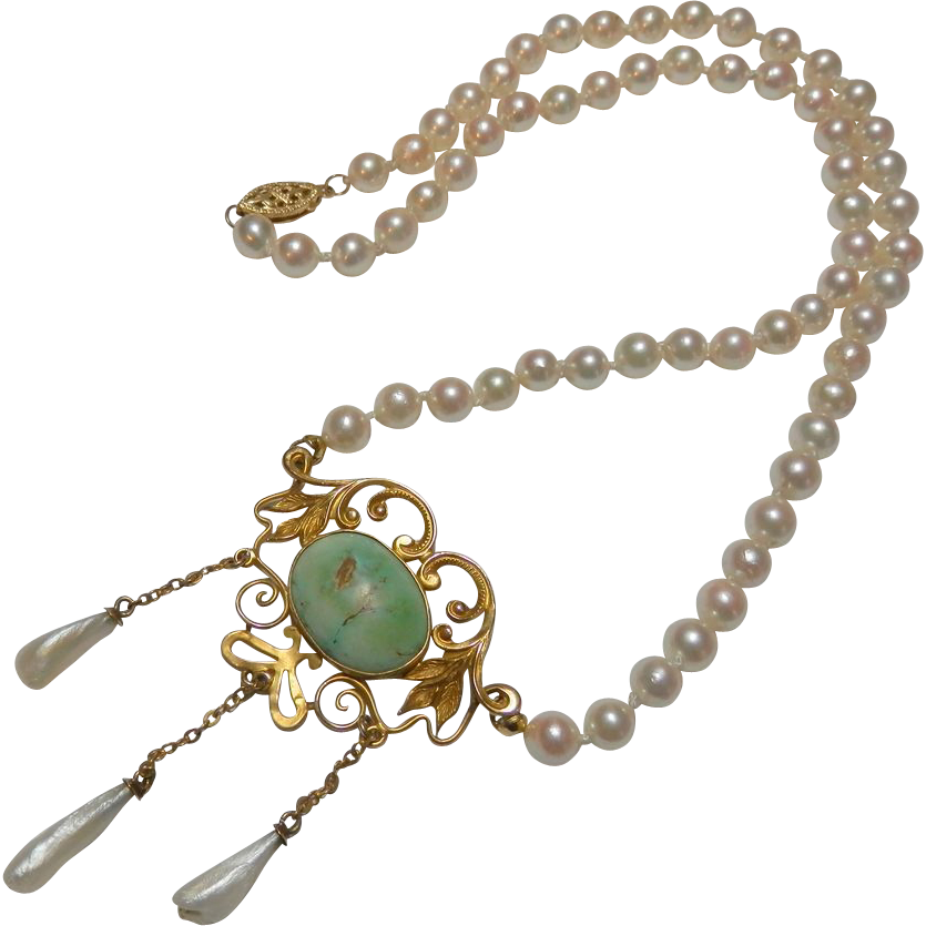 Exquisite Antique 14K Gold Art Nouveau Turquoise & Pearl Necklace - Mother's Day Price Reduction!
