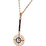Lovely 14K Yellow Gold, Diamond & Enamel Lavalier Pendant Necklace