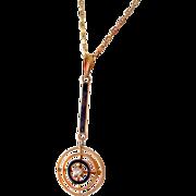 Lovely 14K Yellow Gold, Diamond & Enamel Lavalier Pendant Necklace