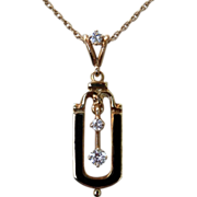 Lovely Victorian Revival Diamond Enamel 14K Necklace