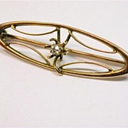 Lovely Art Nouveau 10K Gold Pin with Diamond Accent