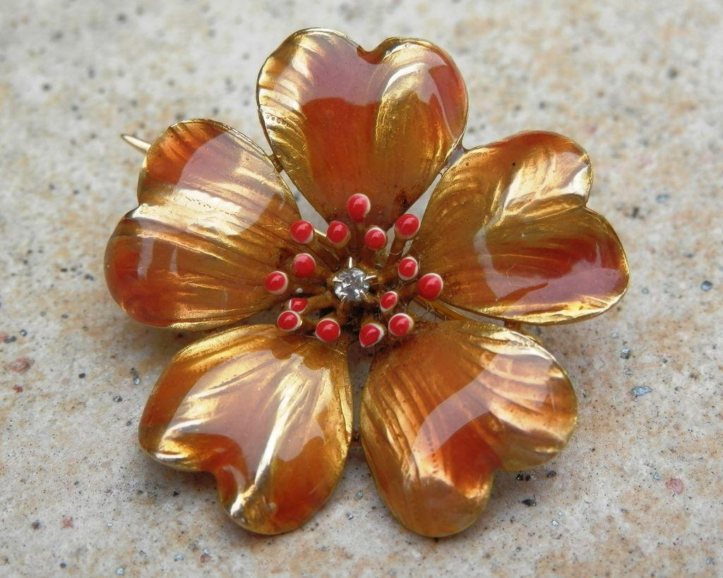 Beautiful 14K Art Nouveau Enameled Flower Diamond Pin Circa 1900-1917
