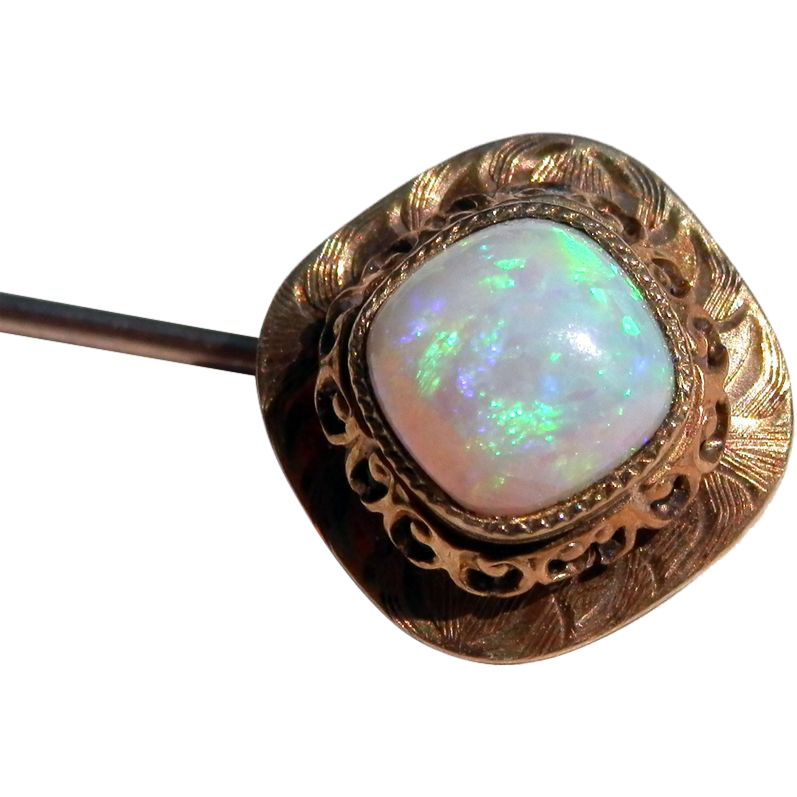 Late Victorian Ornate Opal 14K Stickpin