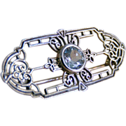 Sterling Filigree Pin with Aquamarine