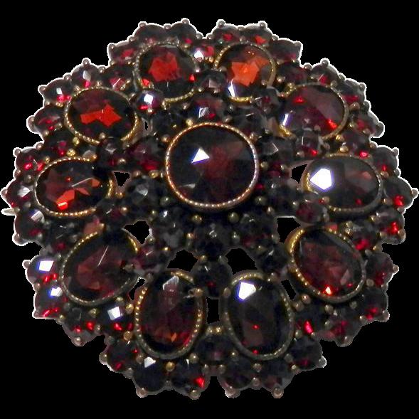 Gorgeous Late Victorian Bohemian Garnet Pin