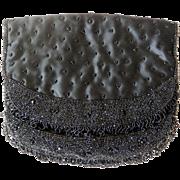 Excellent Vintage Koret Tresor Black Beaded Evening Bag Purse circa 1950-60's