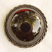 Victorian Onyx Mourning Brooch / Pin with Trombone Clasp