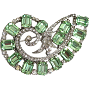 Amazing Unmarked Pin / Brooch Emerald Cut Mint Green Peridot Rhinestones
