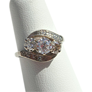 14K Gold .50ctw Side Diamonds Crossover Ring Circa 1950's