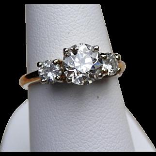 14K Yellow Gold 1.10 ct. Old European Cut Diamond Trilogy Ring